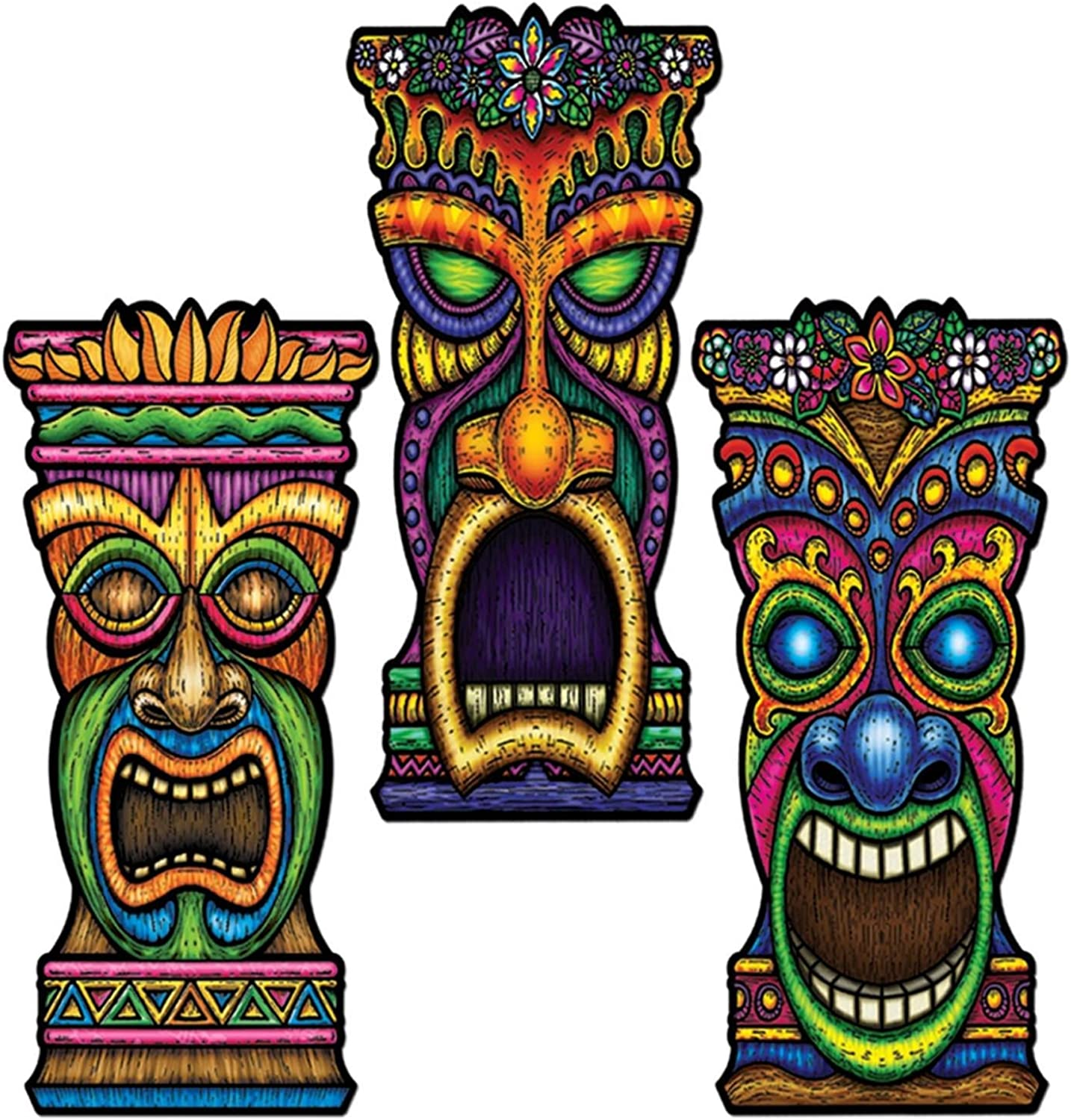 Club Pack of 24 Multicolord Tiki Head Cutout Party Decorations 22