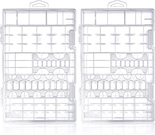 Pack of 2 Cell Battery Storage Case Organizer Clear Box Hanging Hook Hole, Clasp Lock AA AAA 9V C D Size Batteries, Great ...