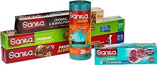 Sanita Aluminum Foil 37.5 Sq.Ft + Baking Roll 10cm + Cling Film 100 Sq. Ft. + Easy Lock Food Storage Bag Medium 50 Pieces...