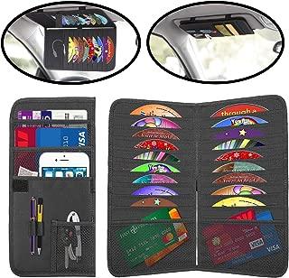 Lebogner Car Sun Visor Organizer And CD Holder, 2 In 1 Auto Interior Accessories Organizer Pocket, Personal Belonging and Registration, Document, Ticket Storage Pouch + 18 Pocket CD, DVDs Storage Case