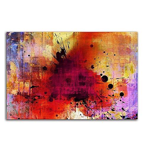 Musterbilder buntes Abstraktes Bild auf Leinwand Abstrakt142_cm_dekoratives LeinLeinwandbild Leinwandbild 100x70cm schlicht stilvoll zeitlose Wohraumdeko TOP Kunstdruck Eyecatcher Design