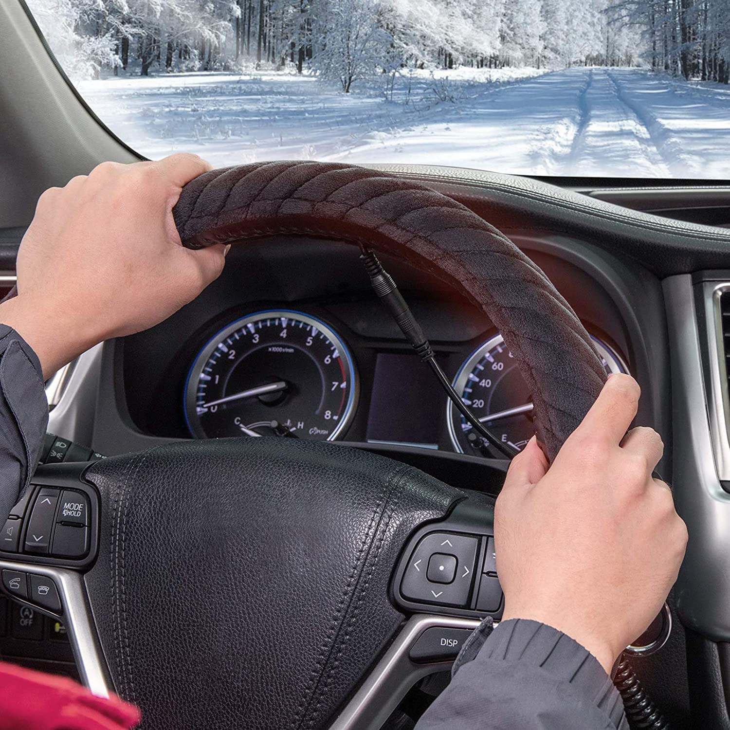 SEG Direct Steering Wheel Cover for Standard-Size Steering Wheels with 14.5 inches-15 inches Outer Diameter,Keep Warm in Winter 12V Black Velour with Coiled Cord