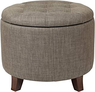 Adeco Fabric Cushion Round Button Tufted Lift Top Storage Ottoman Footstool, Height 17 Inches