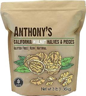 Anthony's California Walnut Halves & Pieces, 3 lb, Shelled, Raw, Natural, Gluten Free, Keto Friendly