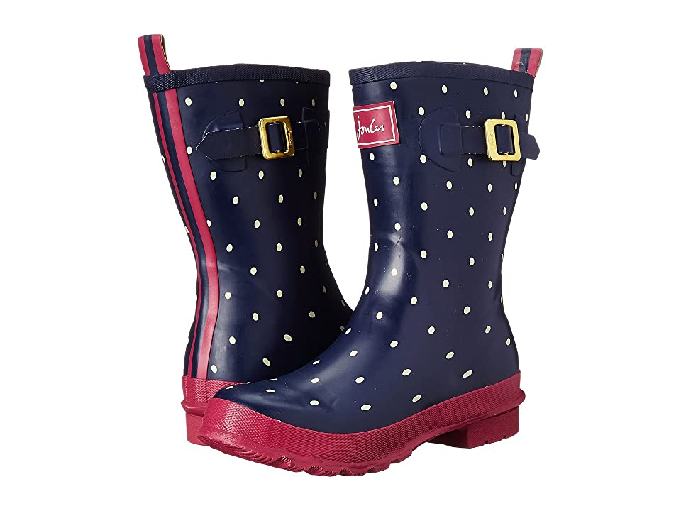 Joules Mid Molly Welly (Navy Spot Rubber) Women