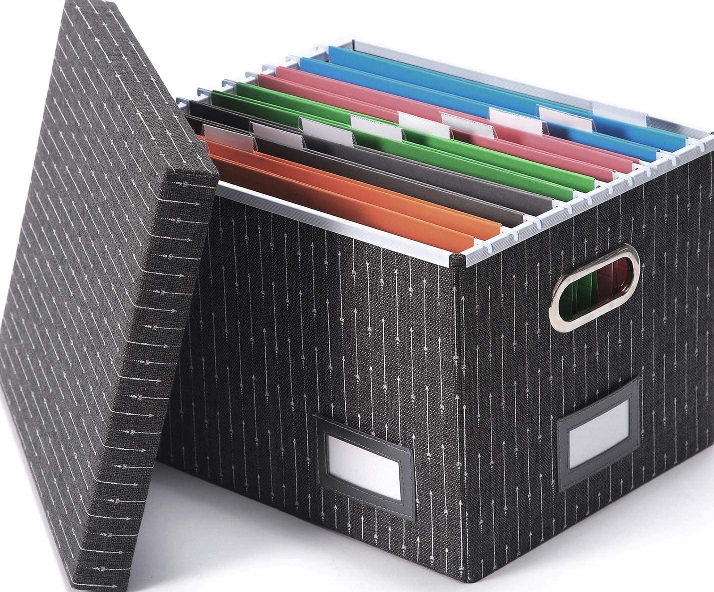 Decorative File Organizer Box - Portable Filling Storage System for Documents and Hanging File Folders Organization by Trizo