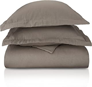 Superior Premium Cotton Flannel Duvet Cover Set, All Season 100% Brushed Cotton Flannel Bedding, 3-Piece Set with Duvet Cover and Pillow Shams - Grey Solid, Full/Queen