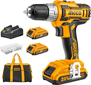 Sponsored Ad – INGCO Lithium-Ion Cordless Combi Drill 20V Drill Driver with 2pcs 2.0Ah Battery Pack, 1pcs Canvas Bag, 47pc...