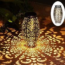 Solar Lantern Lights for Hanging or Table Outdoor Solar Light for Patio Courtyard Garden (Silver)