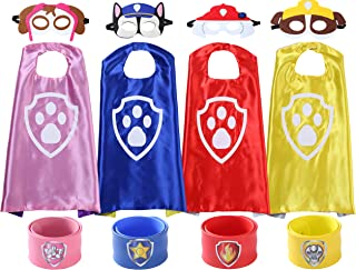 Superheros Dress Up Costumes 4 Satin Capes with Felt Mask Matching Wristbands for Kids