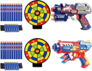 Fstop Labs 2 Pack Blaster Foam Gun Toy, Compatible with Nerf Guns, Hand Toy Guns with 2 Wrist Band, 60 Pieces Refill Soft Foam Bullet Darts and 2 Targets for Kids