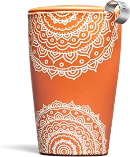 Tea Forte Kati Cup Ceramic Tea Infuser Cup with Infuser Basket and Lid for Steeping, Chakra