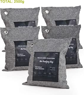 MULAN Charcoal Air Purifying Bag (5 Pack of 500gram), Activated Charcoal Odor Absorber, All Natural Odor Eliminators for Home, Car and Pets.