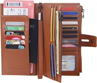 Rfid Blocking Travel Wallet Leather Passport Holder Family Travel Document Organizer (Brown)