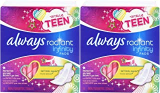 Always Totally Teen Always Radiant Infinity Pads, 14 Count - Pack of 2