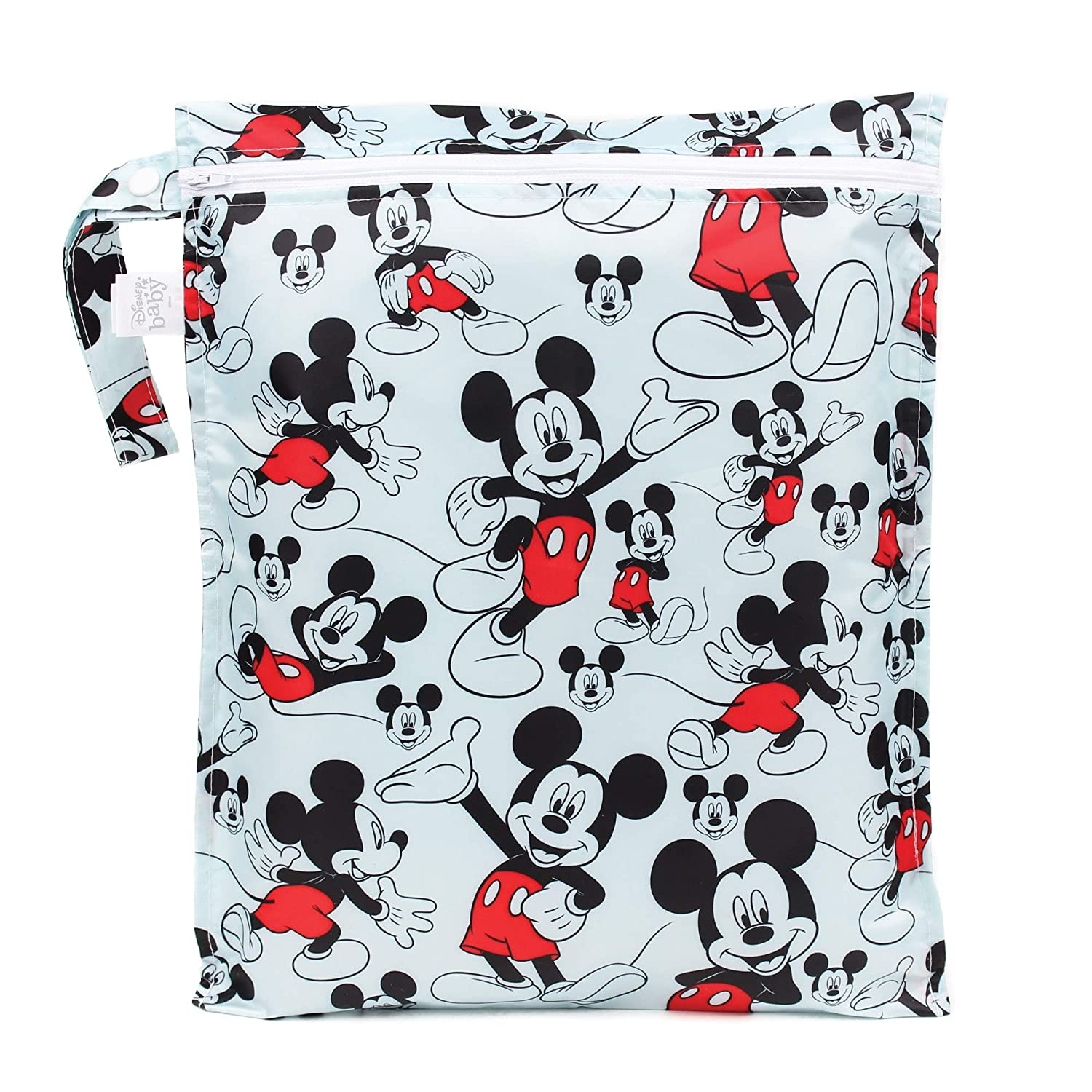 Bumkins Waterproof Wet Bag, Washable, Reusable for Travel, Beach, Pool, Stroller, Diapers, Dirty Gym Clothes, Wet Swimsuits, Toiletries, 12x14 – Disney Mickey Mouse