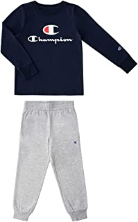 Champion Kids Boys Long Sleeve Hooded and Crew Neck Tee Shirt and Fleece Jogger Sweatpant 2 Piece Set Kids Clothes