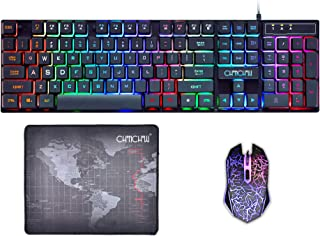 Gaming Keyboard and Mouse Mousepad Combo Mechanical Feeling Rainbow LED Backlight Emitting Character 3200DPI Adjustable USB Mice Compatible with PC Resberry Pi iMac TDB910(Black)