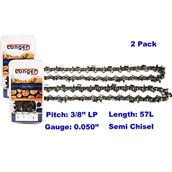 Echo Dunhil Pack of 2 16 inch Chainsaw Chains 3//8 LP .050 Inch 57 Drive Links Fits for Cub Cadet Shindaiwa John Deere Pack of 2