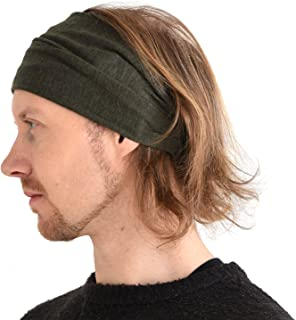 Casualbox - Bandana para el pelo, de lino, natural, elástica, moda deportiva