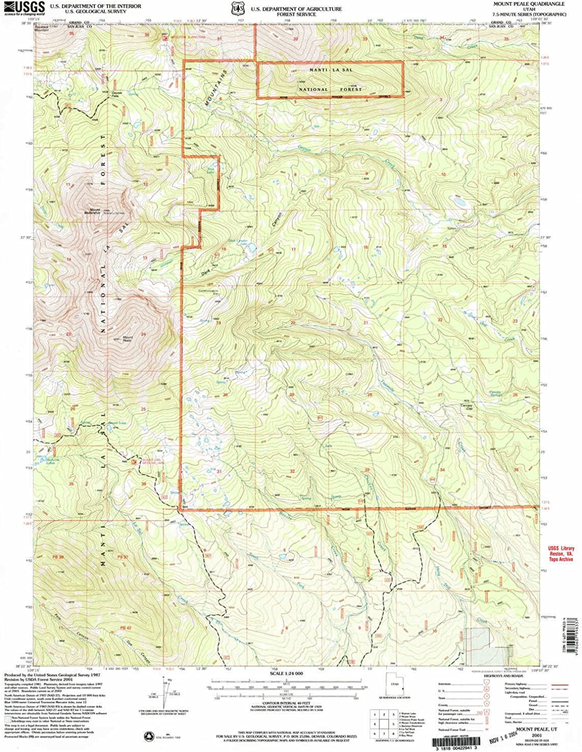 Mount Peale UT topo map, 1 24000 Scale, 7.5 X 7.5 Minute, Historical, 2001, Updated 2004, 26.8 x 21.8 in