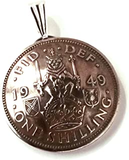 UK Scotland Shilling Coin Jewelry Pendant Vintage Necklace Scottish Crest Lion Crown Thistle Great Britain British English