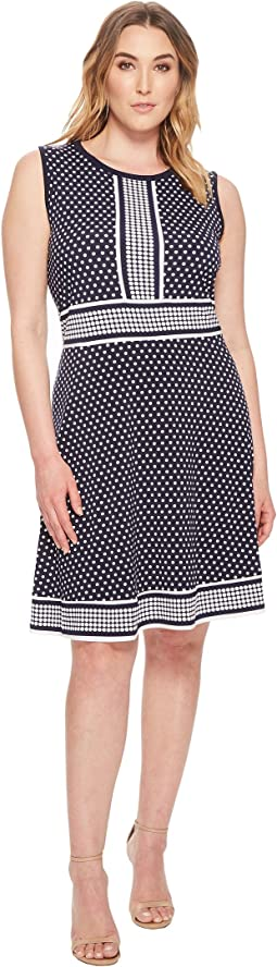 Plus Size Simple Dot Sleeveless Border Dress