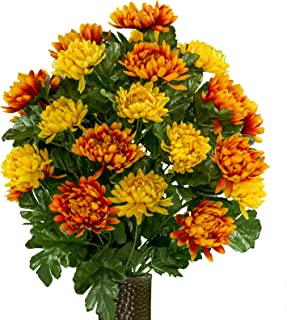 Rubys Silk Flowers Orange and Yellow Mums, Featuring The Stay-in-The-Vase Design(C) Flower Holder (LG2026)
