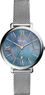 Women's Silvertone Medium Round Face Mother of Pearl Watch