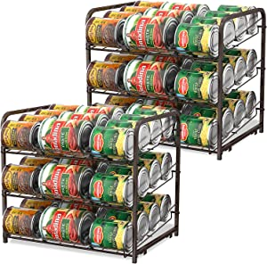 Can Organizer for Pantry Stackable 2 Pack, Can Storage Organizer Rack Stacking Can Dispensers Small Space Holds up to 36 Cans for Pantry, Kitchen, Cabinet- Brown