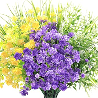 HATOKU 10pcs Artificial Flowers Outdoor UV Resistant Faux Shrubs Plants for Hanging Planter Home Decoration Wedding Porch Window Decor (1 Yellow, 2 Purple, 2 White, 5 Green)
