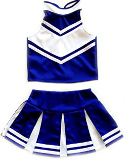 blue and white cheerleading uniforms