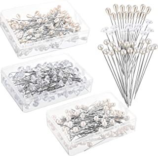 Zonon 300 Pieces Corsages Pins Pearl Pins Wedding Floral Bouquet Pins Flower Pins Diamond Head Pins Straight Pins for Weddings Anniversary Flower Decoration Table Centerpieces, 3 Styles (White)