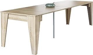 Home Innovation- Table TM, Console Salle à Manger avec rallonges jusqu'à 305cm, Couleur chêne, Dimensions fermée : 90x53.6...