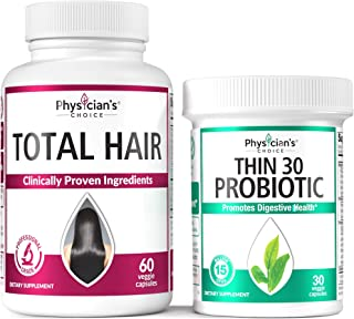 Hair Growth Vitamins (Clinically Proven Ingredients) + Probiotics for Women - Detox Cleanse & Weight Loss Support