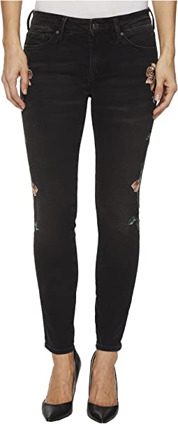 Mavi Jeans - Adriana Mid-Rise Ankle Super Skinny in Smoke Rose Embroidery