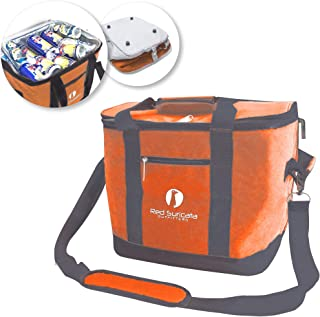 Red Suricata Collapsible Cooler Bag - Large Insulated Soft Cooler Bag for 50 Cans - Keeps Cool for 6 Hours - 30L Portable Cooler Bags Insulated – Soft Sided Travel Cooler (Heathered Orange/Grey)