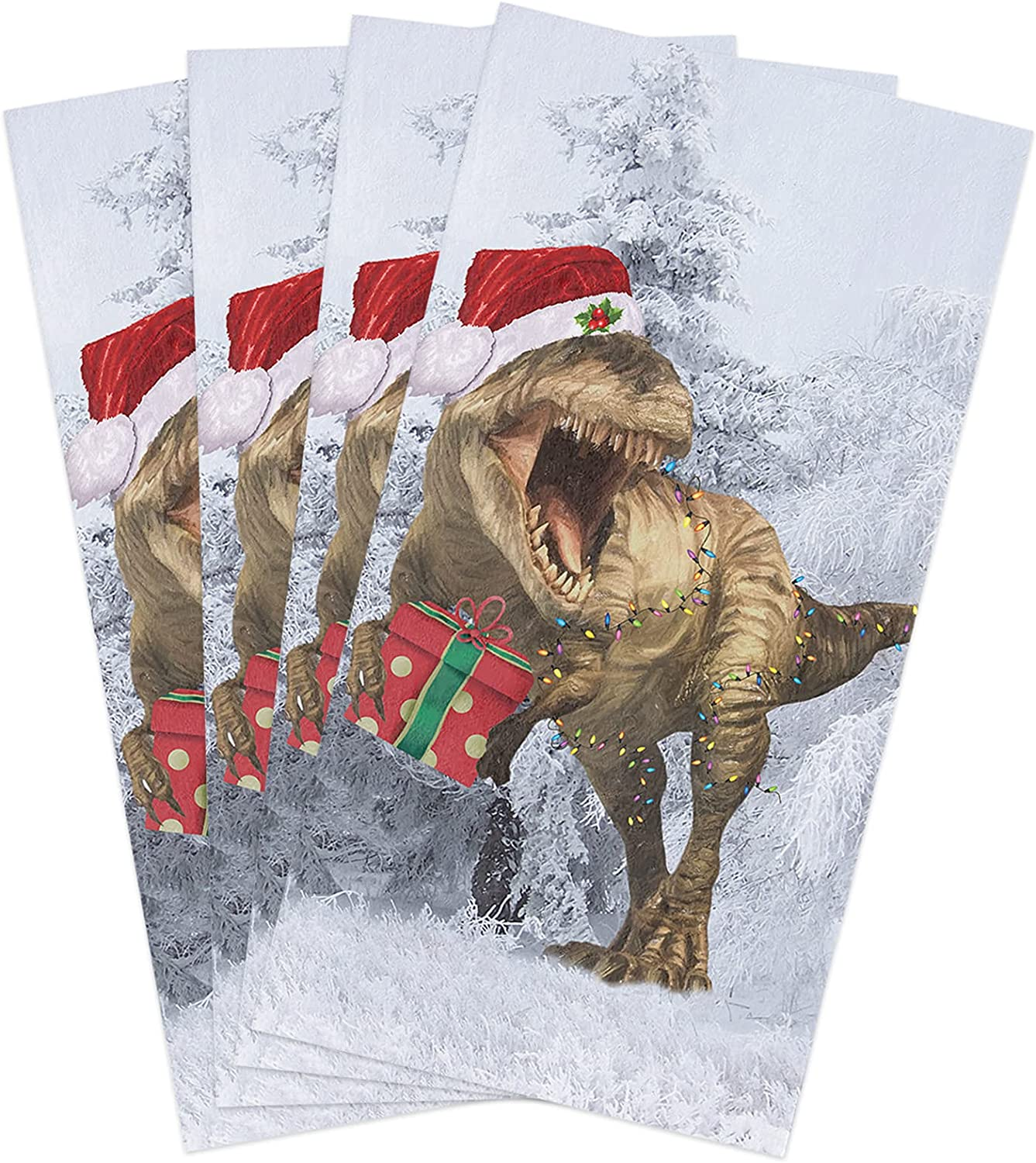 New item Max 67% OFF Microfiber Soft Kitchen Dish Towels Dinosaur Christmas Pack 4 of