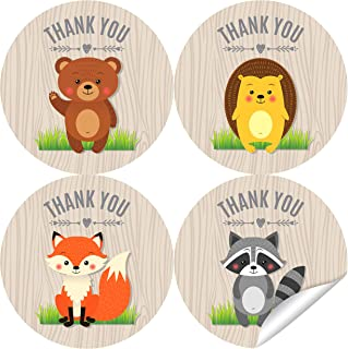 2 Inch Woodland Thank You Stickers - Woodland Theme Baby Shower Labels Favors Decorations - 40 Stickers