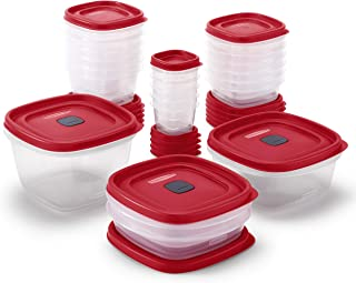 Rubbermaid 2063704 Easy Find Vented Lids Food Storage Container, 42 Piece, New Assortment, Racer Red (Renewed)