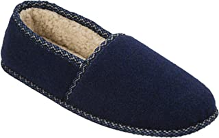 Dearfoams Men's Moccasin - Indoor/Outdoor, Machine Washable, Cushioned Slippers with Closed-Toed Design and Rubber Sole