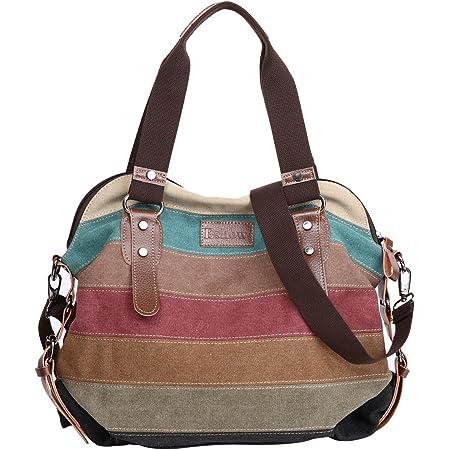 Eshow Damen Canvas Handtasche Schultertasche Umhängetasche groß mit Handgriff für Arbeit Schule Shopping