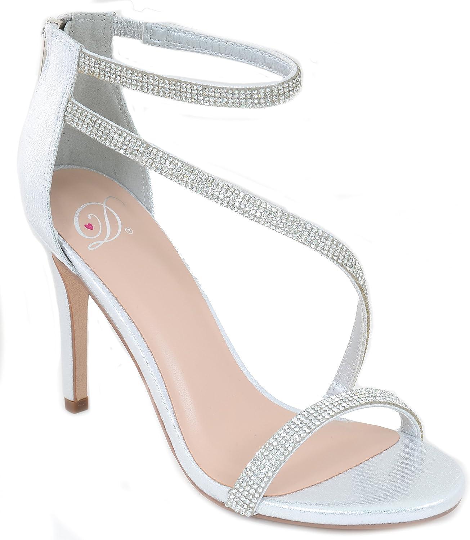 Silver Metallic Jeweled Strappy Platform Sandal Formal Heels Women's