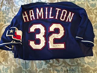 2009 Josh Hamilton Signed Inscribed Game Used Jersey - Awesome Blue - JSA Certified - MLB Game Used Jerseys