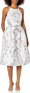 فستان Jessica Howard للنساء برقبة عالية وحزام مع تنورة مطوية