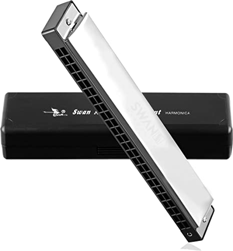 Swan Techno Geek Sw24 4 Tremolo Harmonica Performance Harmonica Mouth Organ 24 Holes 48 Tones C Key With Black Box