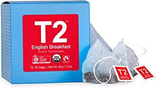 T2 Tea Organic Fairtrade English Breakfast Black Tea in Cube 25 Teabags, 1 x 25 Count