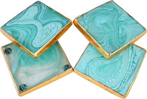 Set Of 4 Mint Marbled Glass Coasters