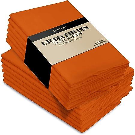 Set of 2 Geometric Dinner Napkins Lines  Orange Grid Brush Stroke Orange Cloth Napkins by Spoonflower - Grid Orange by veenydreamed