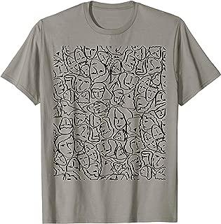 Elios Shirt Faces in Black Ink Hand Drawn Art T-Shirt